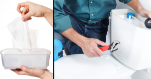 A plumber working on a toilet